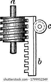 A gear system with a rack gear and worm gear, used to convert circular motion to rectilinear motion, vintage line drawing or engraving illustration.