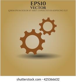gear team work icon vector symbol flat eps jpg app