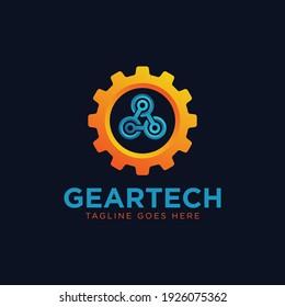 Gear tech logo design template