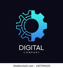 Gear technology vector logo template. This logo is suitable for factory, industrial, technology, website, digital, mechanic, wheel.