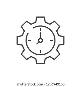 Gear with time line icon. Symple outline style. Cogwheel clock dial, development process logo, 24 hours concept symbol design. Vector illustration isolated on white background. EPS 10.
