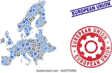 Gear vector European Union map composition and seals. Abstract European Union map is created from gradient randomized gearwheels. Engineering territorial scheme in gray and blue colors,