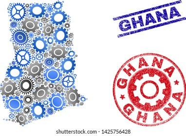 Gear vector Ghana map mosaic and seals. Abstract Ghana map is done with gradiented randomized gearwheels. Engineering territorial plan in gray and blue colors,