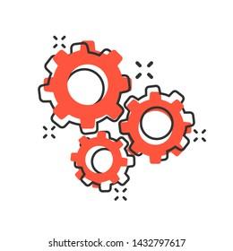 Gear vector icon in comic style. Cog wheel cartoon illustration on white background. Gearwheel cogwheel business concept splash effect.