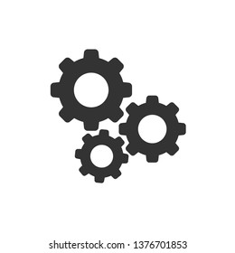 Gear vector icon in flat style. Cog wheel illustration on white background. Gearwheel cogwheel business concept.