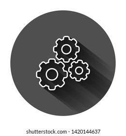 Gear vector icon in flat style. Cog wheel illustration on black round background with long shadow. Gearwheel cogwheel business concept.
