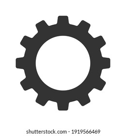 Gear vector icon isolated on white background. Symbol of setting in flat design. Cogwheel tool or button for web application or UI. Technical concept. Mechanism repair.