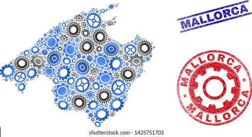 Gear vector Mallorca map mosaic and stamps. Abstract Mallorca map is composed of gradient random gear wheels. Engineering territorial scheme in gray and blue colors,