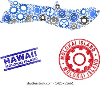Gear vector Molokai Island map mosaic and seals. Abstract Molokai Island map is composed of gradiented scattered gearwheels. Engineering territory scheme in gray and blue colors,