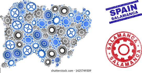 Gear vector Salamanca Province map collage and seals. Abstract Salamanca Province map is done of gradiented randomized gear wheels. Engineering territorial plan in gray and blue colors,