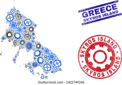 Gear vector Skyros Island map mosaic and seals. Abstract Skyros Island map is organized from gradient random cogs. Engineering territory scheme in gray and blue colors,