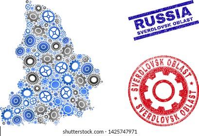 Gear vector Sverdlovsk Region map composition and stamps. Abstract Sverdlovsk Region map is composed from gradiented random gearwheels. Engineering territorial plan in gray and blue colors,