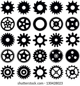 Gear wheel collection - vector silhouette