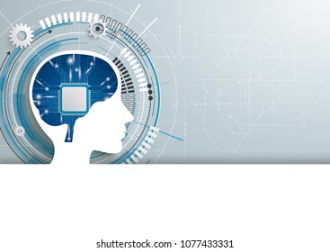 Gear wheel and human head with microchip in the brain. Eps 10 vector file.