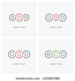 Gear wheel logo set. Pinions and toothing symbol - mechanics and mechanical engineering, industry and equipment, leadership, teamwork and cooperation, eco and ecology vector icons.