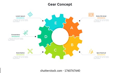 Gear wheel pie chart divided into 5 colorful jigsaw puzzle pieces. Concept of five stages of production process. Simple infographic design template. Modern flat vector illustration for presentation.