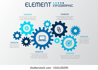Gear wheel shape elements of graph,diagram with steps,options,processes or workflow.Business data visualization.Creative infographic template for presentation,vector illustration.