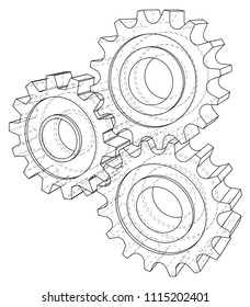 Gear wheel. Vector rendering of 3d. Wire-frame style. 3D view layers of visible and invisible lines are separated.