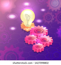 Gear wheels and the burning lamp. Innovative technologies. Idea business. Technical progress. Digital modern background. Colourful elements of design.3D. Isometry. Vector illustration.