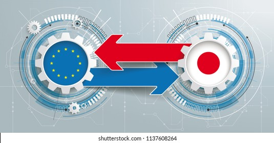 Gear wheels with circuit diagram, arrows and flags of the Japan and EU. Eps 10 vector file.