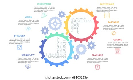 Gear wheels consisted of multicolored parts and surrounded by thin line pictograms and text boxes. Concept of mechanical process organization. Simple infographic design template. Vector illustration.
