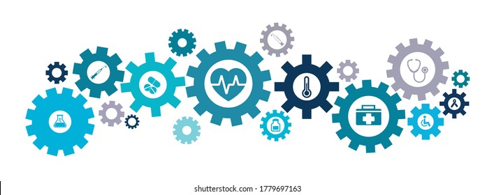 Gear wheels with healthcare symbolizing idea or solution. EPS 10