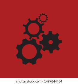 Gear wheels icon, modern mechanism industrial and technology concept