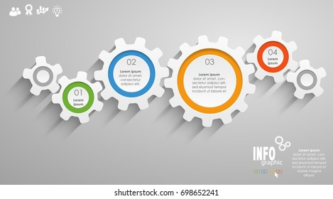 gear wheels info graphic for cooperation or teamwork symbolism with different options