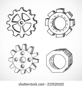 Gear wheels sketches. Vector illustration.