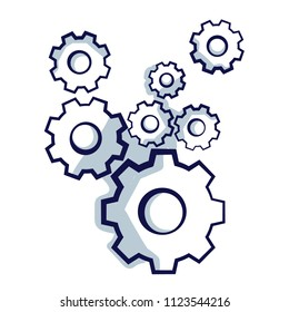 Gear wheels symbolizing idea or solution. Hand Drawn vector Illustration isolated on white
