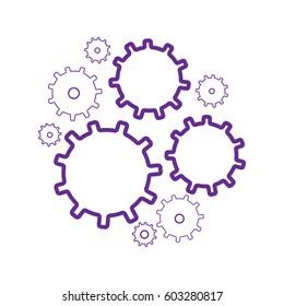 Gear wheels vector icons set. Gear wheel, machine gear wheel, engineering gear wheel