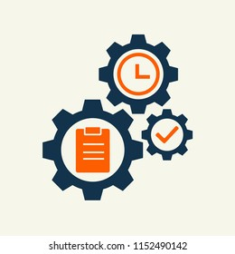 gear whell with task sign vector illustration. vector icon