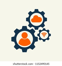 gear whell with user people sign vector illustration. vector icon