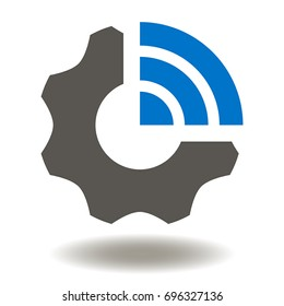 Gear Wifi Vector Icon. Cogwheel Wi-Fi Illustration. Industrial Connected IOT Wireless Symbol.