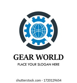 Gear world logo design template illsutration. There are gear and world.  This is dood for business, inddustrial, factory, media, country, engineer, education medical etc