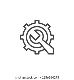 Gear and Wrench outline icon. linear style sign for mobile concept and web design. Repair service simple line vector icon. Maintenance symbol, logo illustration. Pixel perfect vector graphics