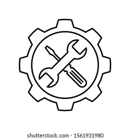 Gear with Wrench and screwdriver icon. Outline thin line flat illustration. Isolated on white background.