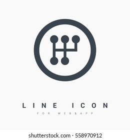 gearbox isolated minimal icon. transmission line vector icon for websites and mobile minimalistic flat design.