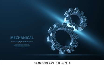 Gears. Abstract vector wireframe two gear 3d modern illustration on dark blue background. Mechanical technology machine engineering symbol. Industry development, engine work, business solution concept