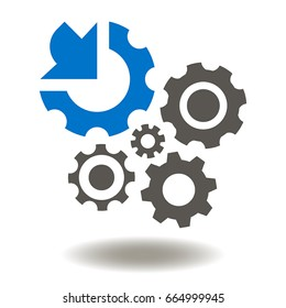 Gears Arrow Integration Vector Icon. Cogwheel integrated Mechanism Illustration. Industrial Business Integrate Logo Sign.
