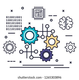digital currency virtual money blockchain technology stock vector Graph Resume gears with artificial intelligence icons