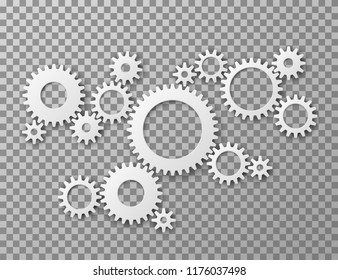Gears background. Cogwheels gearing isolated on transparent background. Machine components industrial and engineering vector concept. Illustration of gear cogwheel, mechanical mechanism process