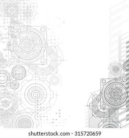 Gears Background. Under construction blueprint.