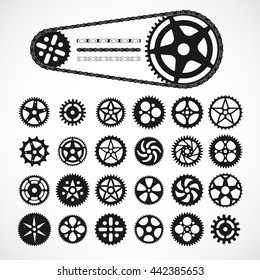 Gears and bicycle chain icons, black vector graphics shapes silhouettes, isolated on white background.