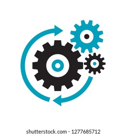 Gears - black icon on white background vector illustration for website, mobile application, presentation, infographic. Cogwheels process concept sign. SEO - search engine optimization.