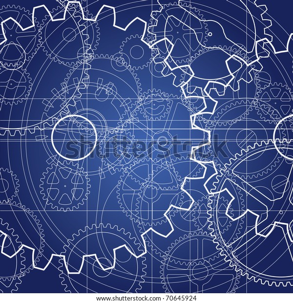 Gears Blueprint Background Technical Drawing Design Stock