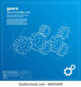 Gears blueprint vector illustration. Technology, teamwork, solution...concepts.