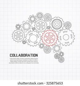 Gears brain for cooperation or teamwork with red leader