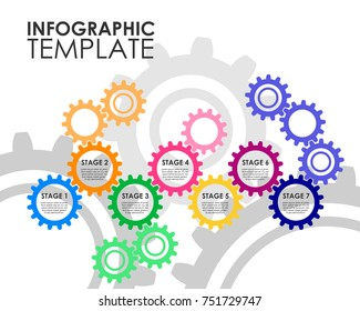 Gears chain infografic template. Vector illustration isolated on a white background.