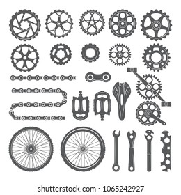 Gears, chains, wheels and other different parts of bicycle. Bike pedal and elements for cycle biking, vector illustration